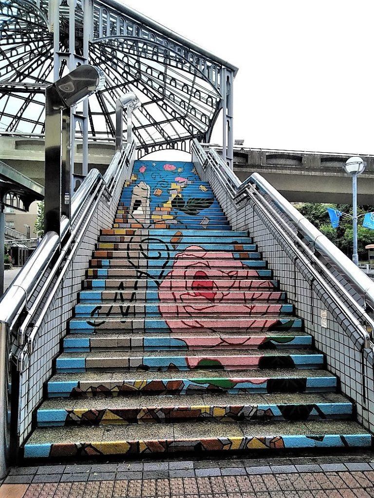 階段アートの水洗い2